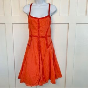 A/X Coral Fit and Flare Cotton and Silk Sun Dress